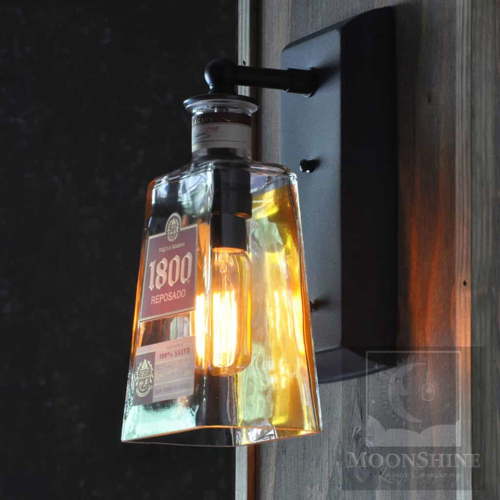 1800 Tequila Bottle Wall Sconce With Vintage Style Bulb