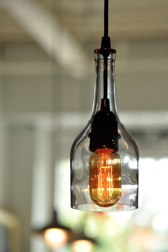 Gin Bottle Hanging Pendant Lamp With Recycled Vintage