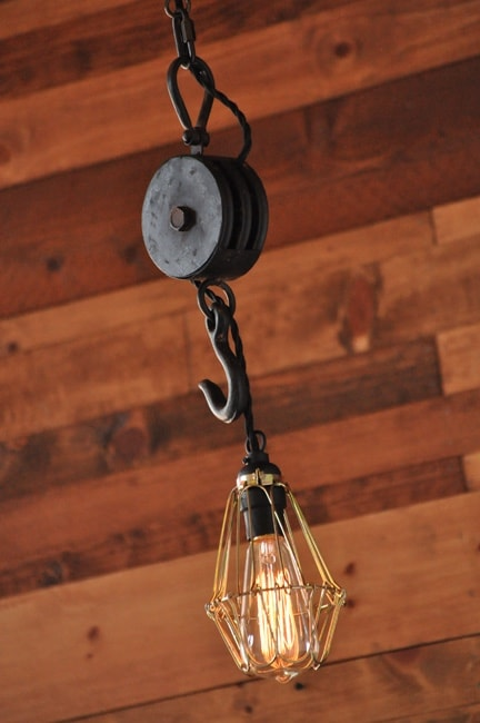 The Cannery Hanging Pulley Wheel Cage Light Fixture With