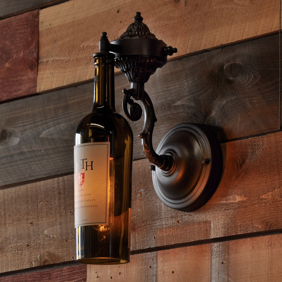 Wine Cellar Light Fixtures: The French Quarter Recycled Wine Bottle Wall Sconce With