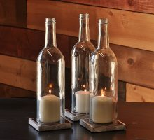 Candle hurricanes archives moonshine lamp company for Clear wine bottle centerpieces