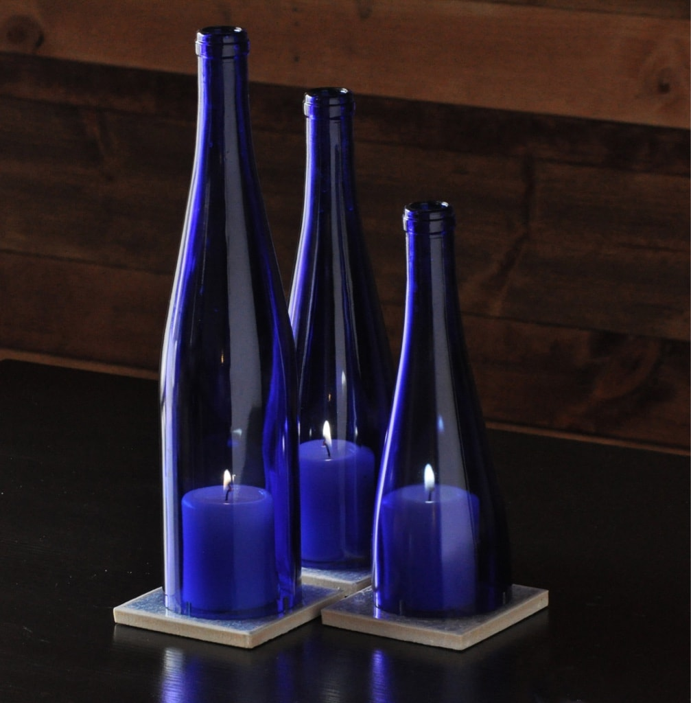 Cobalt blue candle hurricane moonshine lamp company for Candle ideas