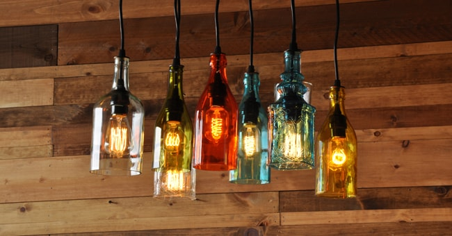 The square 18 recycled bottle chandelier moonshine lamp the square 18 recycled bottle chandelier aloadofball Choice Image