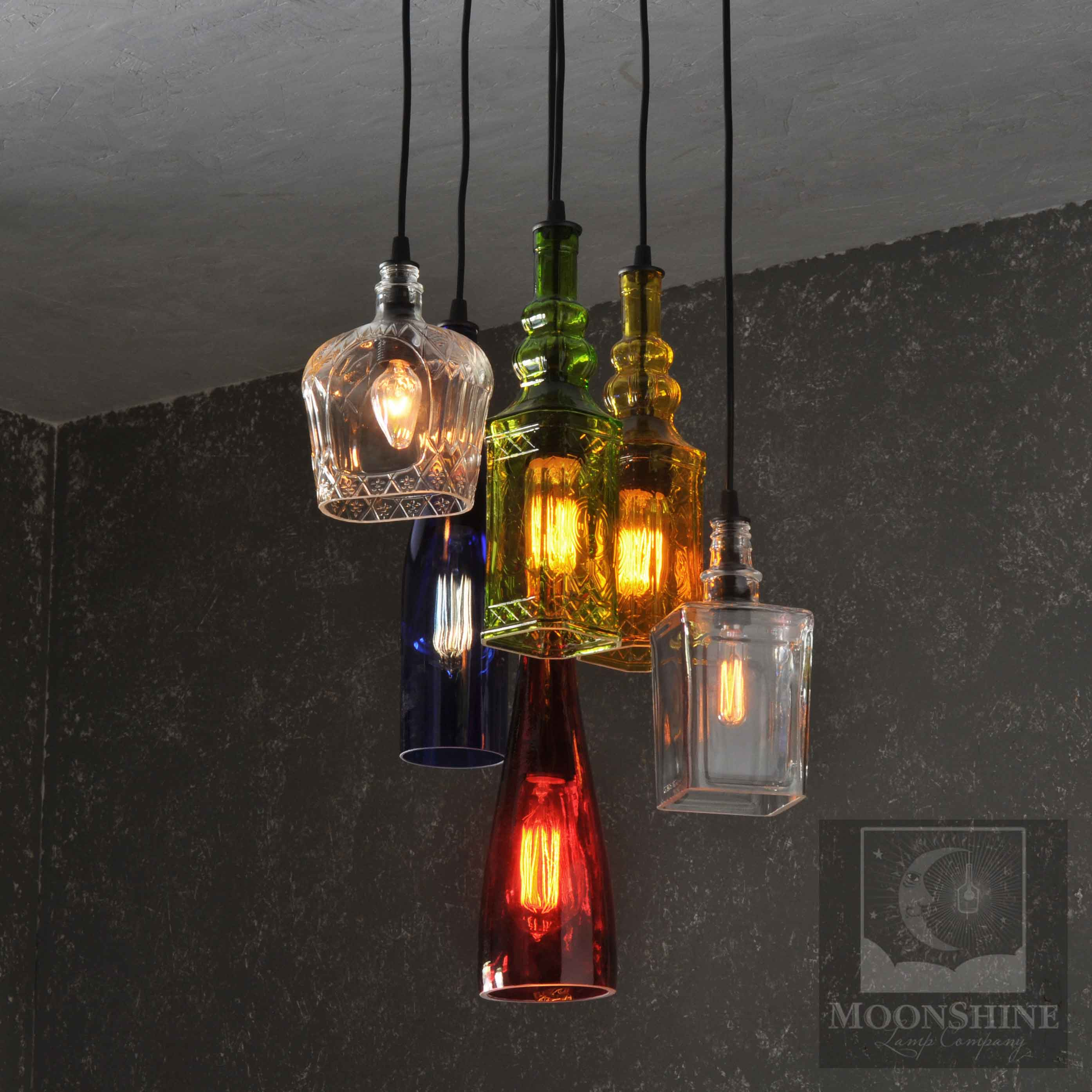 Colored Glass Bottle Round Chandelier For