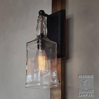 Whiskey Bottle Wall Sconce Moonshine Lamp Company Moonshine Lamp Company
