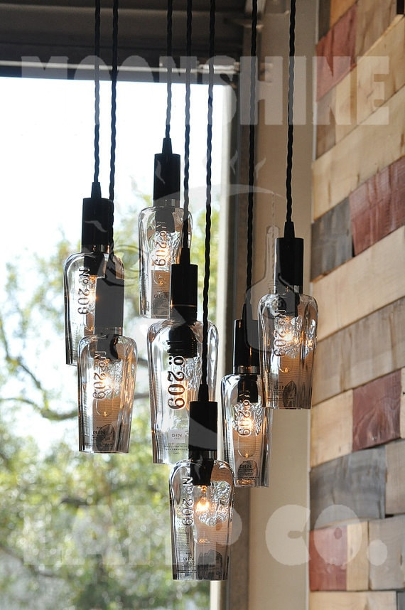 The 209 recycled bottle light chandelier moonshine lamp this is a chandelier made from 7 209 distillery gin bottles the big bottle in the center takes a tubular bulb with a medium base socket aloadofball Choice Image