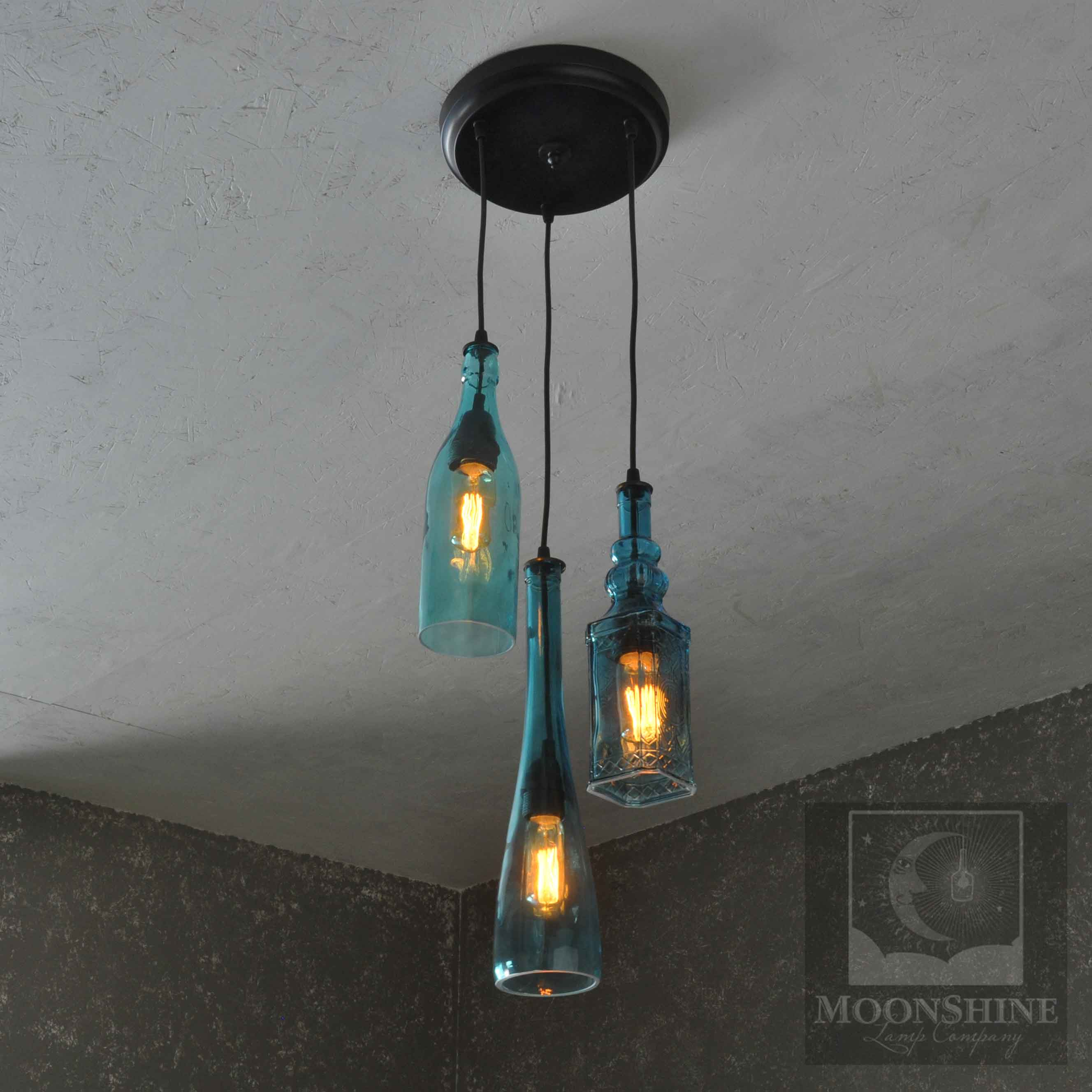 The harmony 3 light recycled colored bottle hanging pendant product description aloadofball Gallery