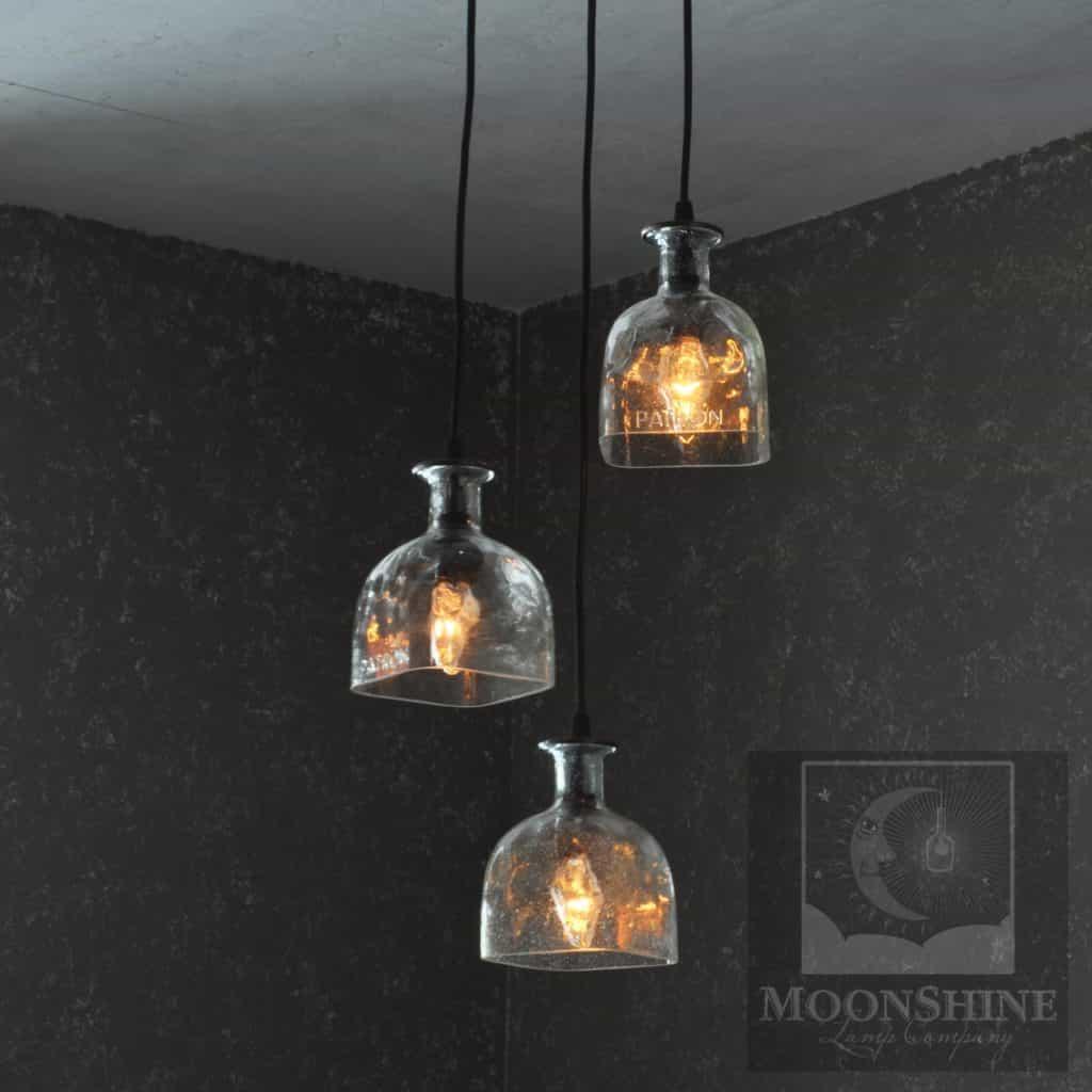 Patron 3 Light Bottle Chandelier Moonshine Lamp Company