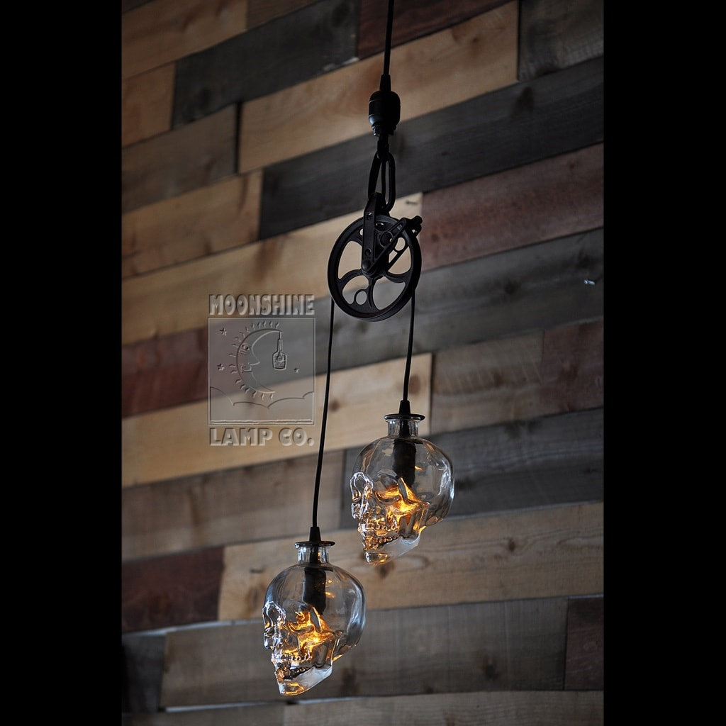 Gl Skull Vodka Bottle Pulley Pendant Chandelier