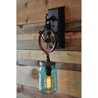 The Canning Jar Pulley Wheel Wall Sconce Modern Farmhouse Lighting