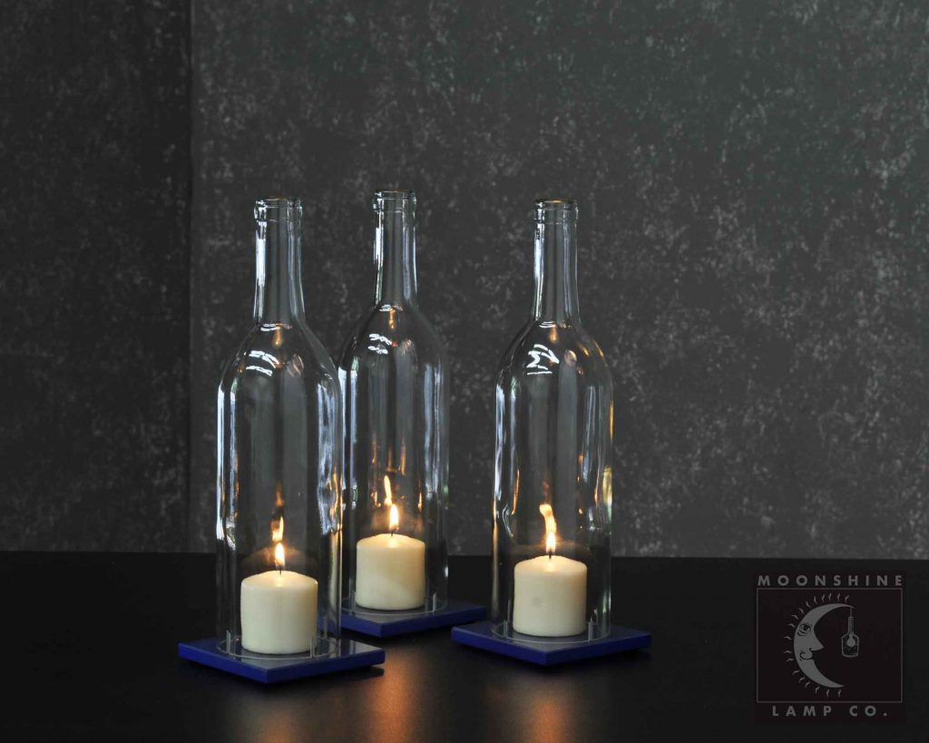 Clear Cabernet Wine Bottle Candle Centerpiece With Colored Glass Tiles -  Moonshine Lamp Company
