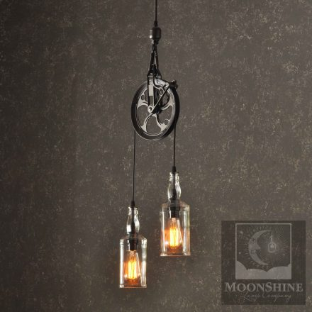 glass bottle lamp beautiful the warehouser industry pulley wheel hanging pendant chandelier light with recycled whiskey bottles wine bottle lamp archives moonshine lamp company