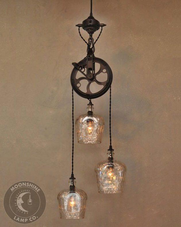 Warehouser 3 Light Pulley Wheel Hanging Bottle Pendant Chandelier Modern Farmhouse Lighting Bar Lights Rustic Lamp
