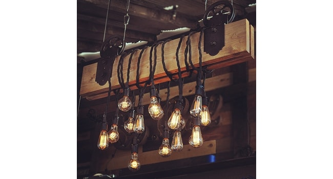 The farm beam wood and metal pulley chandelier with vintage style product description aloadofball Image collections