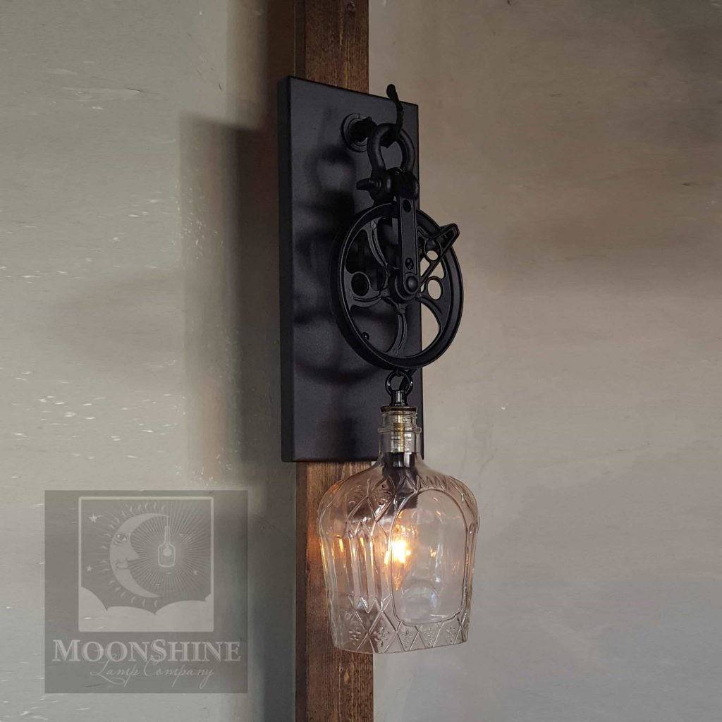Crown Royal Whiskey Pulley Sconce Moonshine Lamp Company