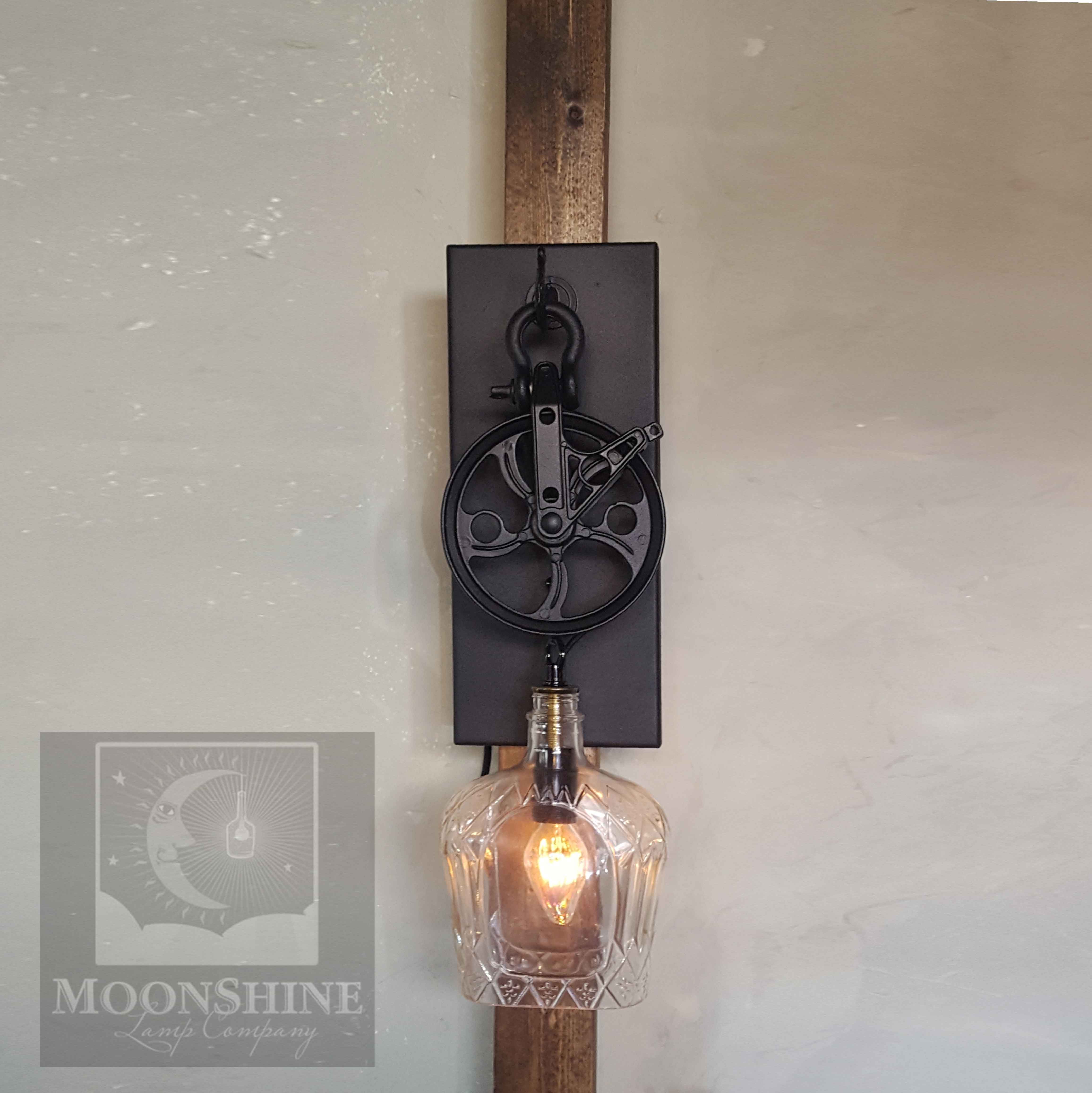 Crown Royal Whiskey Bottle Handmade Pulley Wall Sconce Light With