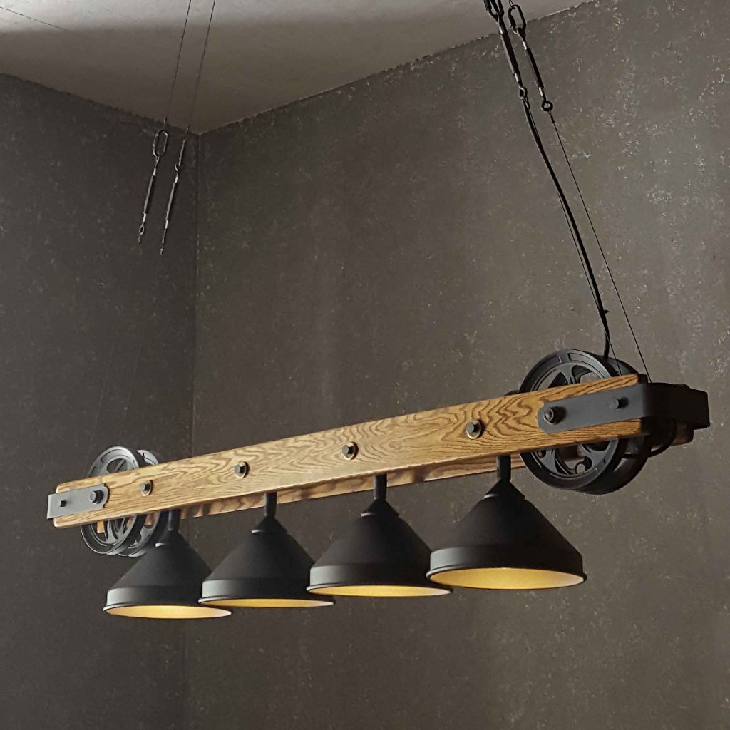 Pulley Wheel Chandelier For Bar Counters