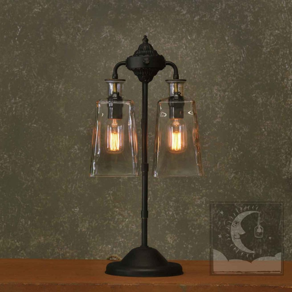 The Solano Vintage Style Table Lamp With Recycled Glass And Edison
