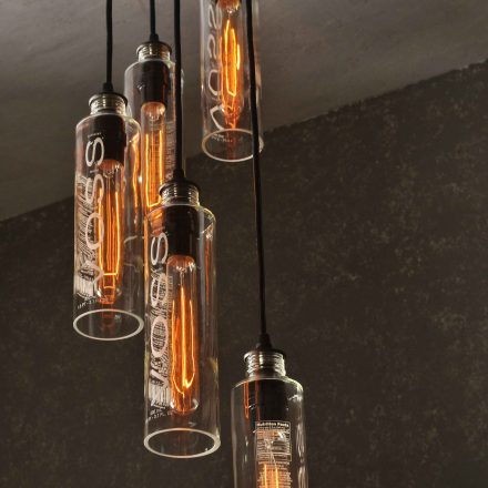 5 Light Recycled Voss Water Bottle Chandelier With Vintage