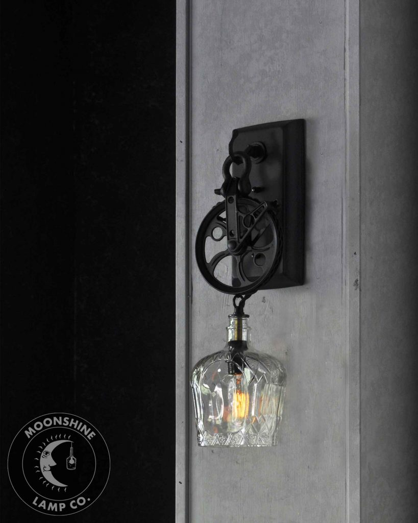 Oil Rubbed Bronze Wall Sconce Option Style Industrial Pulley Wheel Wall Sconce With Recycled Crown Royal Glass Bottle  Lamp Shade and Vintage Style Edison Bulb